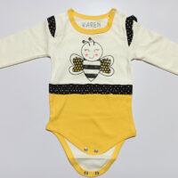 زیر دکمه ای آستین بلند سفید-زرد طرح زنبور