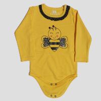 بلوز آستین بلند بچگانه زرد طرح زنبور