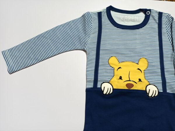 زیر دکمه ای آستین بلند سرمه ای طرح خرس