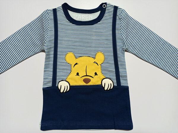ست شلوار و بلوز آستین بلند سرمه ای بچگانه طرح خرس
